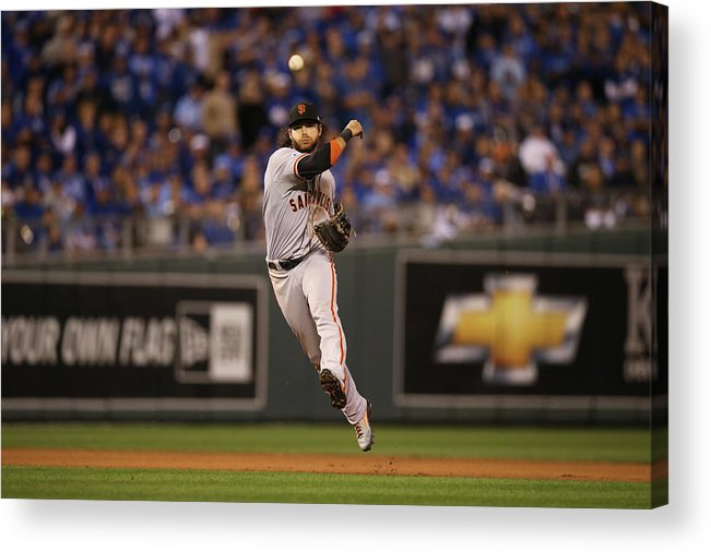 Playoffs Acrylic Print featuring the photograph Omar Infante and Brandon Crawford by Brad Mangin
