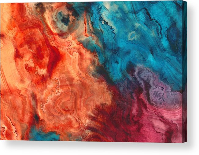 Art Acrylic Print featuring the photograph Orange Blue Purple Abstract Watercolor art painted background by Oxygen