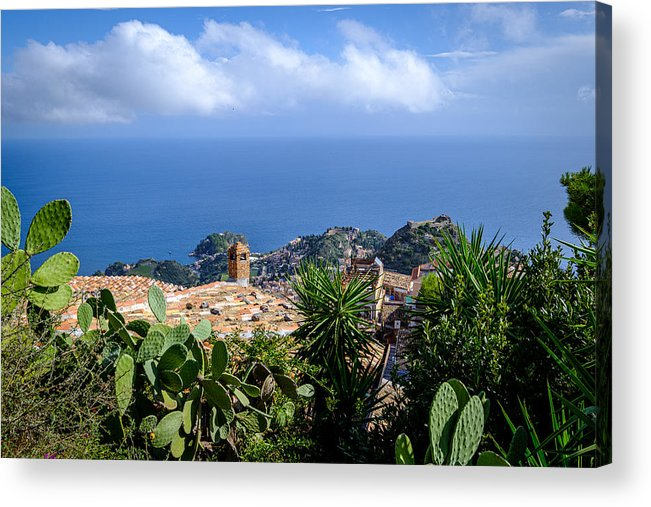 Viewpoint Acrylic Print featuring the photograph Overview of taormina and the mediterranian from Castella Di Mola in Castelmola, Taormina,Sicily by Finn Bjurvoll Hansen