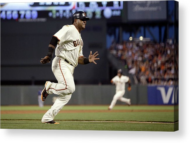 San Francisco Acrylic Print featuring the photograph Pablo Sandoval and Brandon Crawford by Ezra Shaw