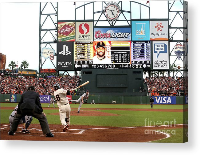 Viewpoint Acrylic Print featuring the photograph Pablo Sandoval and Justin Verlander by Ezra Shaw
