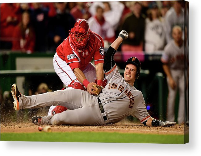 Game Two Acrylic Print featuring the photograph Pablo Sandoval, Wilson Ramos, and Buster Posey by Patrick Smith