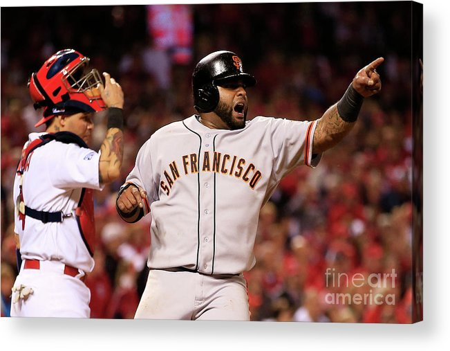 Game Two Acrylic Print featuring the photograph Pablo Sandoval, Yadier Molina, and Hunter Pence by Jamie Squire