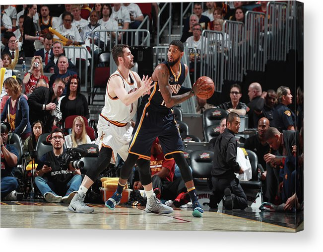 Playoffs Acrylic Print featuring the photograph Paul George and Kevin Love by Jeff Haynes