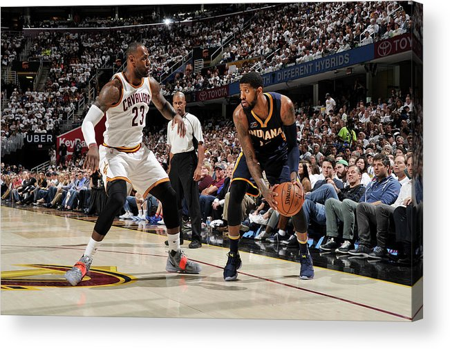 Playoffs Acrylic Print featuring the photograph Paul George and Lebron James by David Liam Kyle