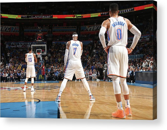 Nba Acrylic Print featuring the photograph Paul George, Carmelo Anthony, and Russell Westbrook by Layne Murdoch