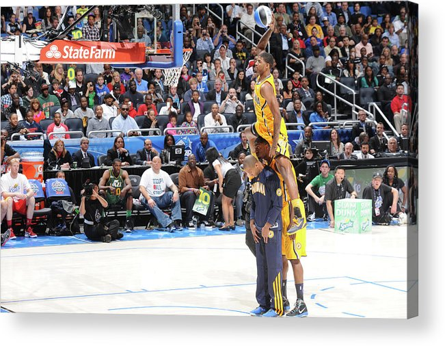 Nba Pro Basketball Acrylic Print featuring the photograph Paul George, Dahntay Jones, and Roy Hibbert by Andrew D. Bernstein