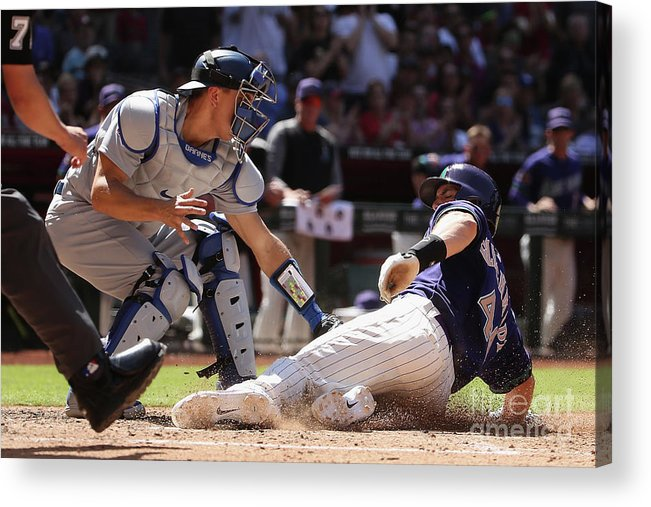 Baseball Catcher Acrylic Print featuring the photograph Paul Goldschmidt and Austin Barnes by Christian Petersen