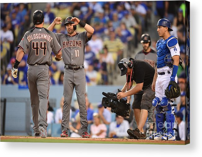 Game Two Acrylic Print featuring the photograph Paul Goldschmidt and Austin Barnes by Harry How