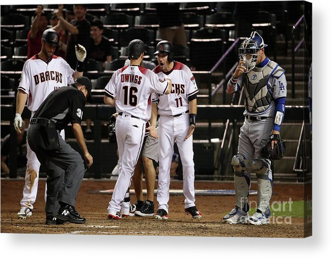 Ninth Inning Acrylic Print featuring the photograph Paul Goldschmidt and Chris Owings by Christian Petersen