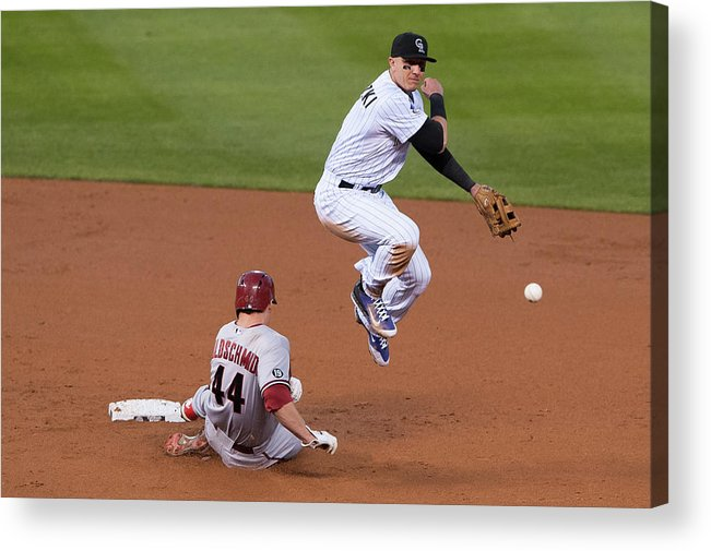 Double Play Acrylic Print featuring the photograph Paul Goldschmidt and Troy Tulowitzki by Dustin Bradford