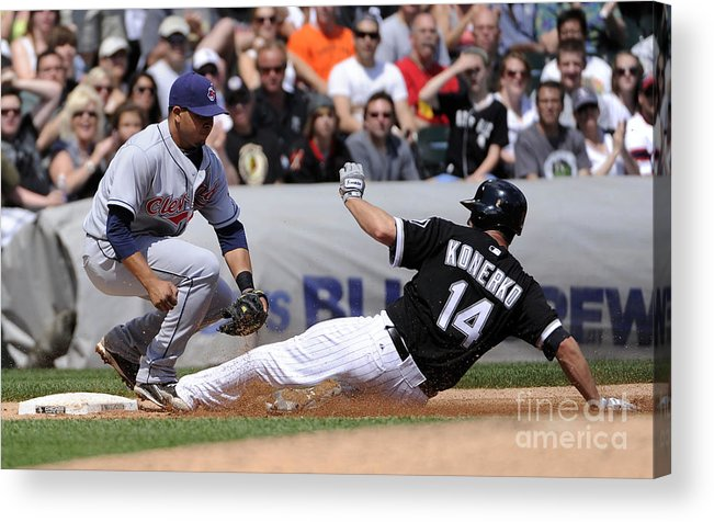 American League Baseball Acrylic Print featuring the photograph Paul Konerko and Jhonny Peralta by Ron Vesely