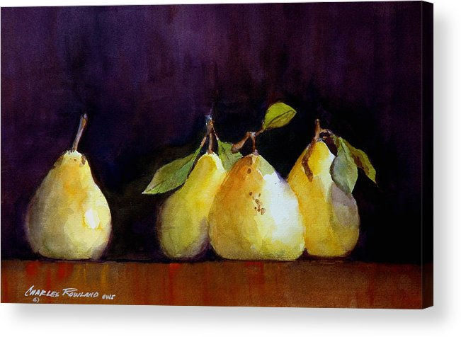Still Life Acrylic Print featuring the painting Pears by Charles Rowland