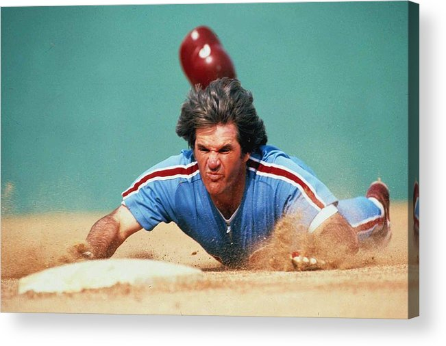 Pete Rose Acrylic Print featuring the photograph Pete Rose by Ronald C. Modra/sports Imagery