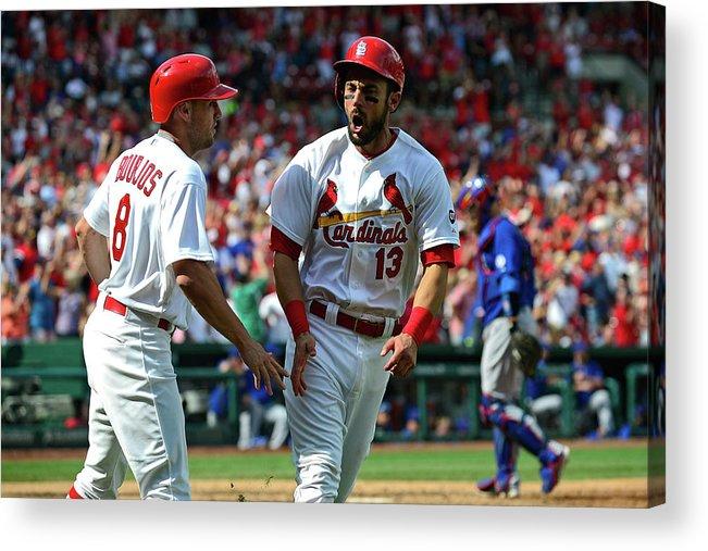 St. Louis Cardinals Acrylic Print featuring the photograph Peter Bourjos and Matt Carpenter by Jeff Curry
