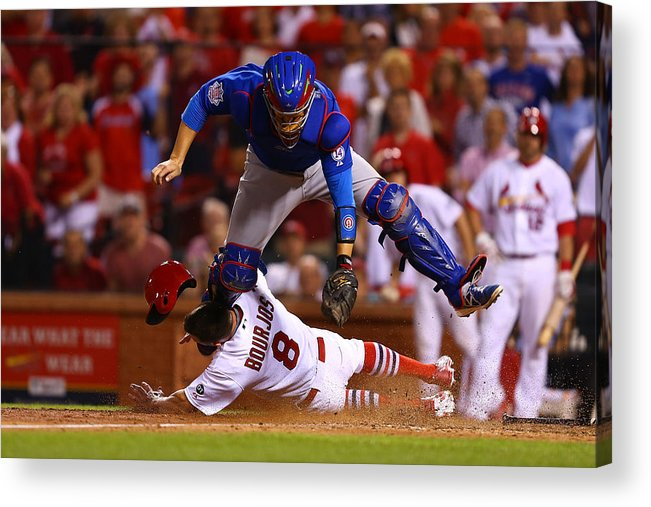 St. Louis Cardinals Acrylic Print featuring the photograph Peter Bourjos and Miguel Montero by Dilip Vishwanat