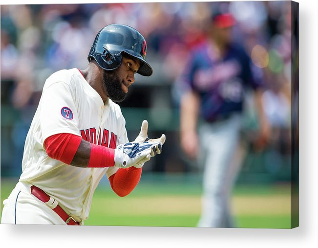American League Baseball Acrylic Print featuring the photograph Phil Hughes and Abraham Almonte by Jason Miller