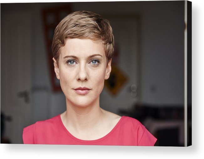 Mid Adult Women Acrylic Print featuring the photograph Portrait of woman at home by Westend61