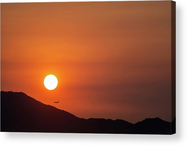 Sunset Acrylic Print featuring the photograph Red sunset and plane in flight by Hannes Roeckel