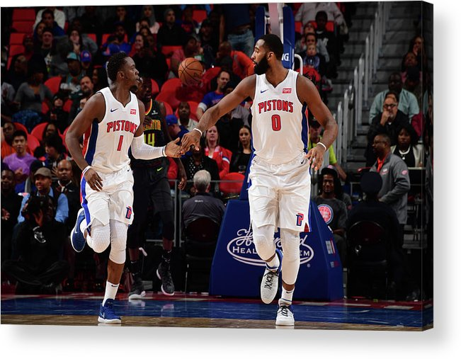 Nba Pro Basketball Acrylic Print featuring the photograph Reggie Jackson and Andre Drummond by Chris Schwegler