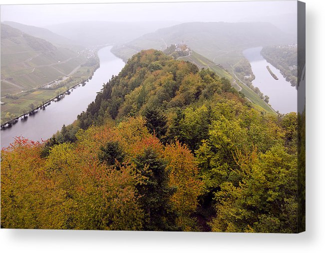 Outdoors Acrylic Print featuring the photograph River Moselle in Autumn by Bernd Schunack