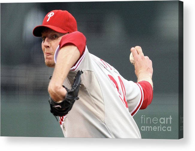 Playoffs Acrylic Print featuring the photograph Roy Halladay by Ezra Shaw
