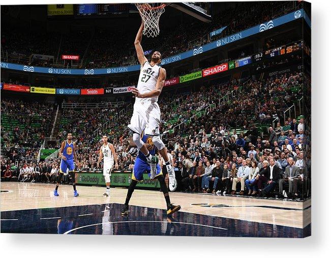 Nba Pro Basketball Acrylic Print featuring the photograph Rudy Gobert by Garrett Ellwood
