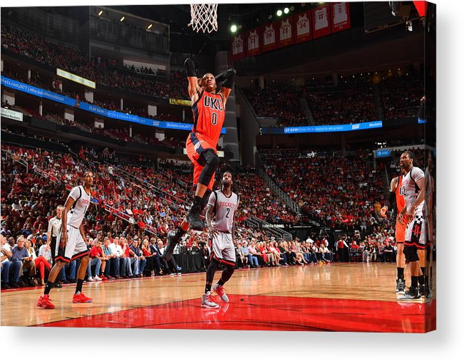 Nba Pro Basketball Acrylic Print featuring the photograph Russell Westbrook and James Harden by Jesse D. Garrabrant