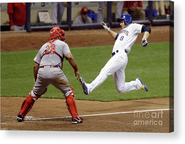 People Acrylic Print featuring the photograph Ryan Braun and Adam Lind by Mike Mcginnis
