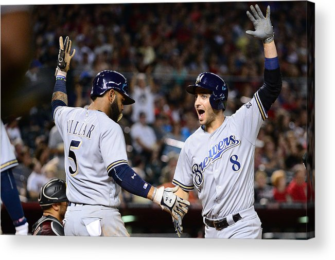 Three Quarter Length Acrylic Print featuring the photograph Ryan Braun and Jonathan Villar by Jennifer Stewart