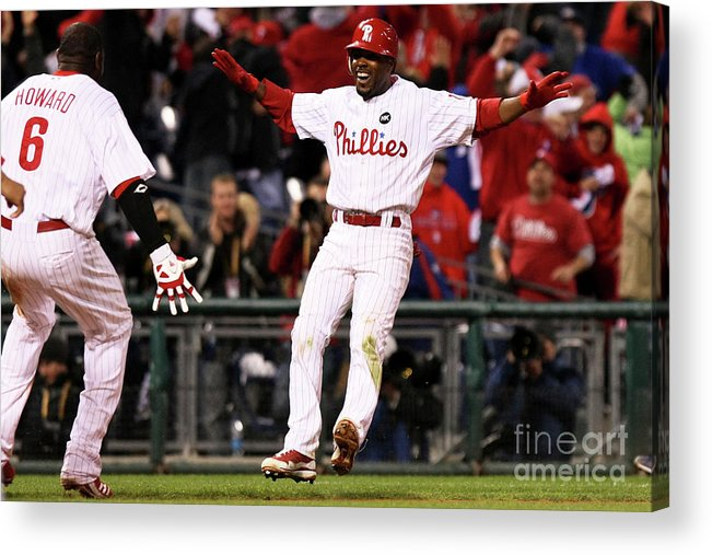 Playoffs Acrylic Print featuring the photograph Ryan Howard and Jimmy Rollins by Nick Laham
