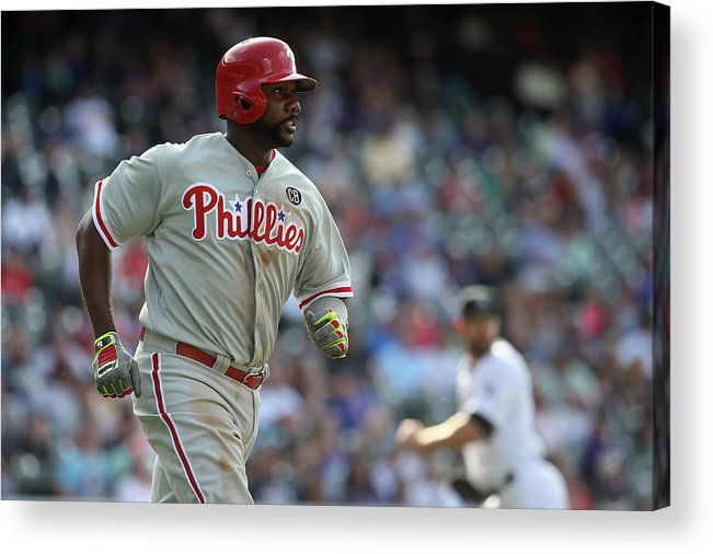 Ryan Howard Acrylic Print featuring the photograph Ryan Howard by Doug Pensinger