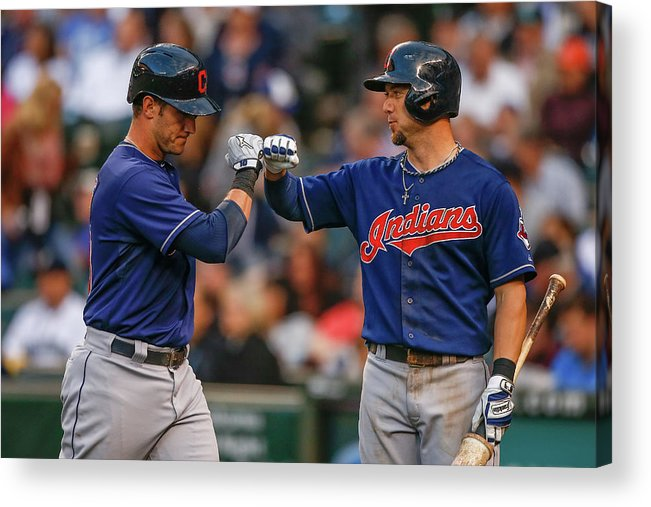 American League Baseball Acrylic Print featuring the photograph Ryan Raburn and Yan Gomes by Otto Greule Jr