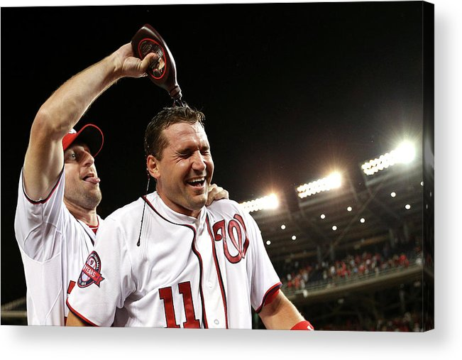 People Acrylic Print featuring the photograph Ryan Zimmerman and Max Scherzer by Patrick Smith