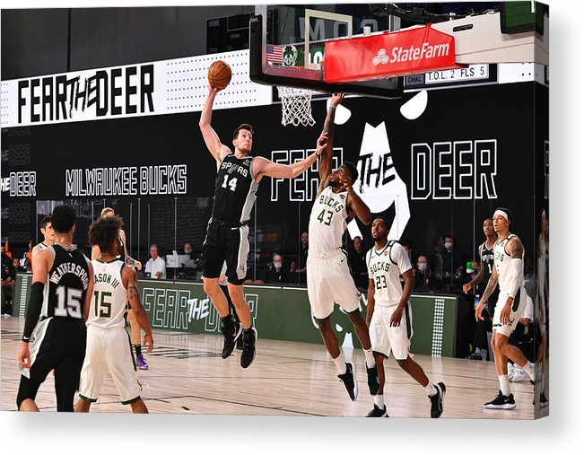 Nba Pro Basketball Acrylic Print featuring the photograph San Antonio Spurs v Milwaukee Bucks by Jesse D. Garrabrant