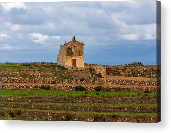 Scenics Acrylic Print featuring the photograph San Dimitri chapel against a cloudy backdrop, Gozo Malta by Flottmynd