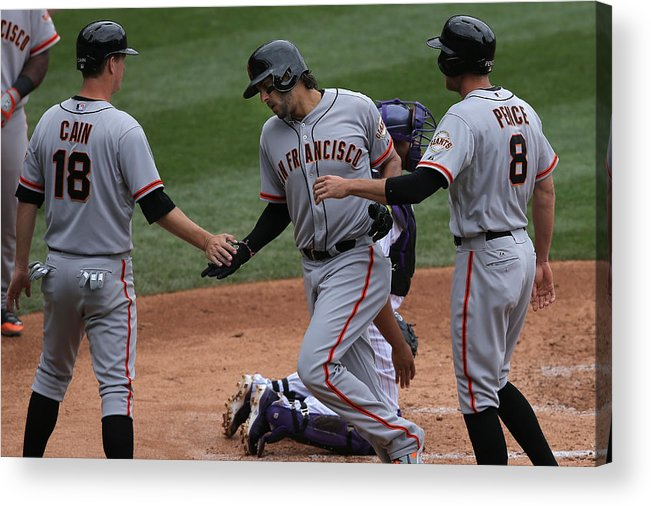 Mike Morse Acrylic Print featuring the photograph San Francisco Giants v Colorado Rockies by Doug Pensinger
