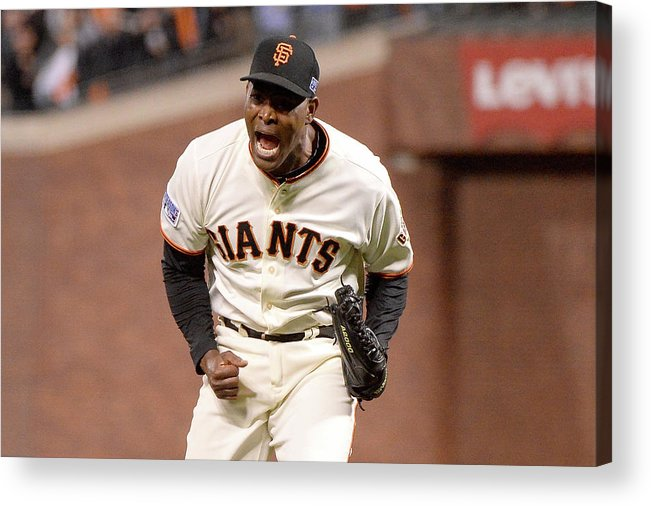 Playoffs Acrylic Print featuring the photograph Santiago Casilla by Harry How