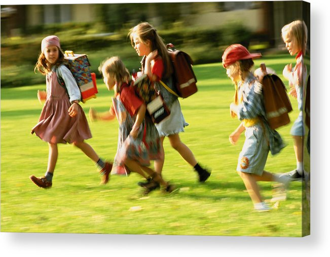 Grass Acrylic Print featuring the photograph Schoolkids by Image Source