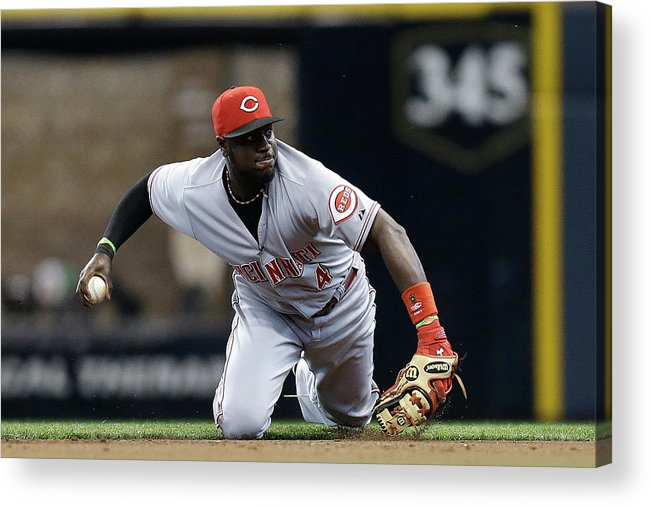 Retirement Acrylic Print featuring the photograph Scooter Gennett and Brandon Phillips by Mike Mcginnis