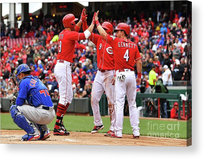 Great American Ball Park Acrylic Print featuring the photograph Scooter Gennett and Joey Votto by Jamie Sabau