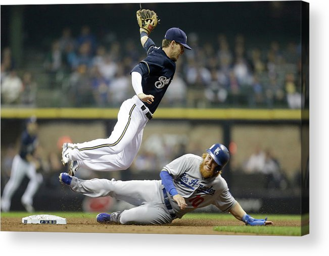 Double Play Acrylic Print featuring the photograph Scooter Gennett and Justin Turner by Mike Mcginnis