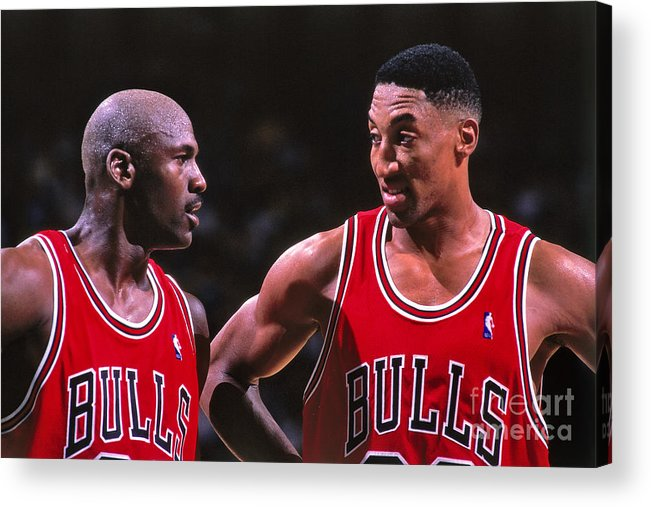 Chicago Bulls Acrylic Print featuring the photograph Scottie Pippen and Michael Jordan by Kent Smith