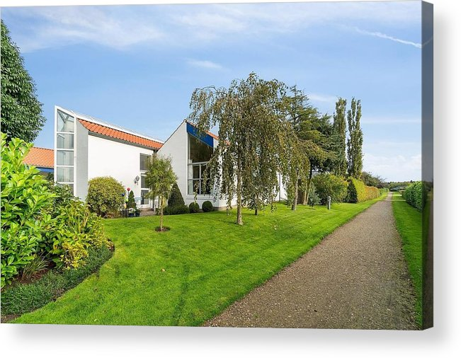 X-factor House In Hedensted Acrylic Print featuring the mixed media Seen from S by Asbjorn Lonvig