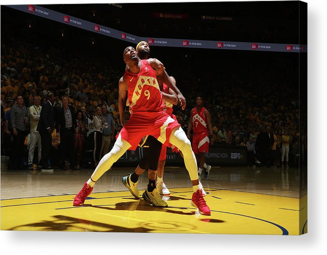 Playoffs Acrylic Print featuring the photograph Serge Ibaka and Demarcus Cousins by Nathaniel S. Butler