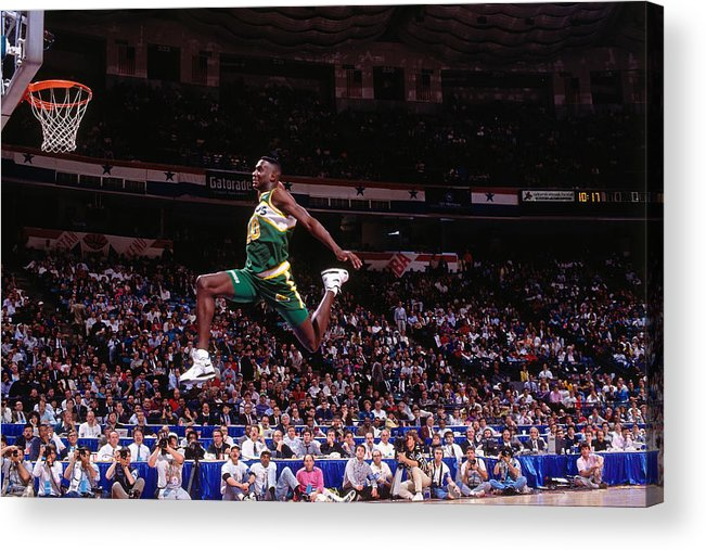 Nba Pro Basketball Acrylic Print featuring the photograph Shawn Kemp by Nathaniel S. Butler