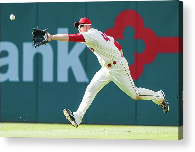 People Acrylic Print featuring the photograph Skip Schumaker and Brandon Moss by Jason Miller