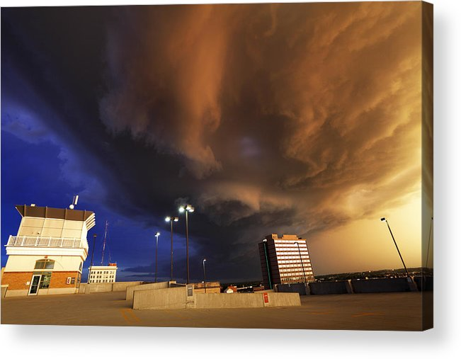 Thunderstorm Acrylic Print featuring the photograph Squall line crossing overhead by Loren M Rye