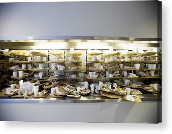 Cafeteria Acrylic Print featuring the photograph Stack of dirty cafeteria trays by Cade Martin