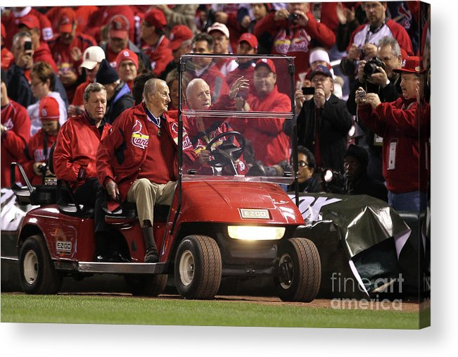 Crowd Acrylic Print featuring the photograph Stan Musial by Ezra Shaw